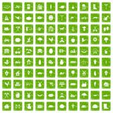 100 farm icons set grunge green. 100 farm icons set in grunge style green color isolated on white background vector illustration Royalty Free Stock Image