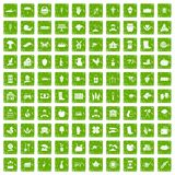 100 farm icons set grunge green. 100 farm icons set in grunge style green color isolated on white background vector illustration Stock Photos