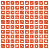 100 farm icons set grunge orange. 100 farm icons set in grunge style orange color isolated on white background vector illustration Stock Photo