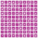 100 farm icons set grunge pink. 100 farm icons set in grunge style pink color isolated on white background vector illustration Stock Image