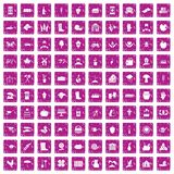 100 farm icons set grunge pink. 100 farm icons set in grunge style pink color isolated on white background vector illustration stock illustration