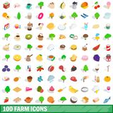 100 farm icons set, isometric 3d style. 100 farm icons set in isometric 3d style for any design illustration vector illustration