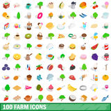 100 farm icons set, isometric 3d style. 100 farm icons set in isometric 3d style for any design vector illustration Stock Photo