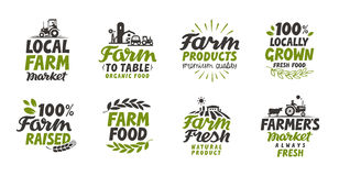 Farm icons set. natural, organic food. Symbol vector illustration. Isolated on white background Royalty Free Stock Image