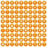 100 farm icons set orange. 100 farm icons set in orange circle isolated on white vector illustration Stock Photography