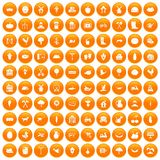 100 farm icons set orange. 100 farm icons set in orange circle isolated on white vector illustration stock illustration