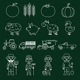 Farm icons set outline Royalty Free Stock Photography