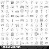 100 farm icons set, outline style Stock Photo