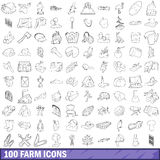 100 farm icons set, outline style Stock Image