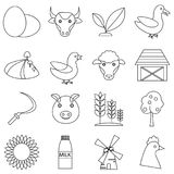 Farm icons set, outline style. Farm icons set. Outline illustration of 16 farm icons for web Vector Illustration