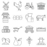 Farm icons set, outline style Royalty Free Stock Image