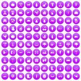 100 farm icons set purple. 100 farm icons set in purple circle isolated on white vector illustration Stock Illustration