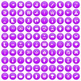 100 farm icons set purple. 100 farm icons set in purple circle isolated on white vector illustration Royalty Free Stock Photography