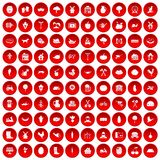 100 farm icons set red. 100 farm icons set in red circle isolated on white vector illustration Stock Photo