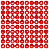 100 farm icons set red. 100 farm icons set in red circle isolated on white vector illustration Stock Illustration