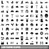 100 farm icons set in simple style. For any design vector illustration Royalty Free Stock Photos