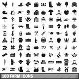 100 farm icons set, simple style Stock Image