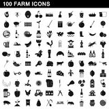 100 farm icons set, simple style. 100 farm icons set in simple style for any design vector illustration Stock Photos