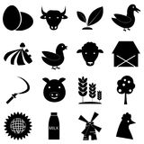Farm icons set, simple style. Farm icons set. Simple illustration of 16 farm icons for web Royalty Free Illustration