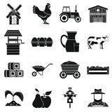 Farm icons set, simple style. Farm icons set. Simple illustration of 16 farm icons for web stock illustration