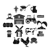 Farm icons set, simple style. Farm icons set. Simple illustration of 16 farm vector icons for web royalty free illustration