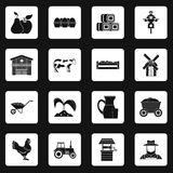 Farm icons set squares vector Royalty Free Stock Image