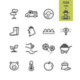 Farm icons set. Stock Photos