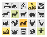 Farm icons set. vector illustration Stock Photos