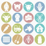 Farm icons set Stock Photography