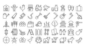 Farm icons set. Farm icons set on white background. Harvest, dairy products, animals and gardening tools Stock Photo