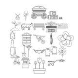 Farm ikony ustawiać, konturu styl ilustracja wektor