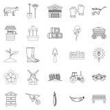 Farm ikony ustawiać, konturu styl royalty ilustracja
