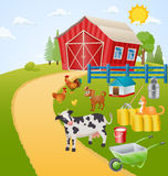 Farm illustration with animals, birds and items. Vector Stock Photography