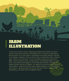 Farm illustration background, colored silhouettes elements, flat. Design Royalty Free Stock Image