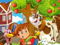 The farm illustration with child - many different elements Stock Photos