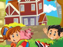 The farm illustration with children - many different elements Royalty Free Stock Photos