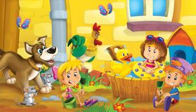 The farm illustration for the kids. Colorful farm illustration with animals and kids playing together Royalty Free Stock Images