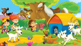 The farm illustration for the kids. Colorful farm illustration with animals and kids playing together Stock Photos