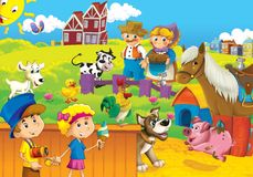 The farm illustration for the kids. Colorful farm illustration with animals and kids playing together Royalty Free Stock Photo