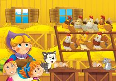 The farm illustration for the kids. Colorful farm illustration with animals and kids playing together Stock Images