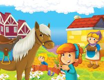 The farm illustration for the kids. Colorful farm illustration with animals and kids playing together Royalty Free Stock Photography