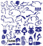 Farm. Image icons with a variety of animals and birds and farm products Stock Photography