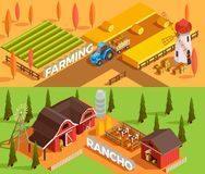 Farm Isometric Banners Stock Images