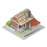 Farm isometric building, farmhouse. Farm set in isometric view. Attributes for agriculture in the countryside. Farm building.  Farmhouse, mill, country house Stock Image