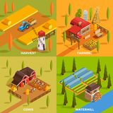 Farm Isometric 2x2 Concept. Farm rural buildings watermill domestic animals and agricultural equipment 2x2 design concept 3d isometric isolated vector Royalty Free Stock Images