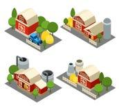 Farm Isometric Icons Set Stock Photos
