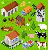 Farm Isometric Set. Stock Photo