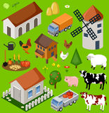Farm isometric set. Stock Photo