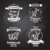 Farm Label Set. Farm animals premium organic meat chalkboard label set isolated vector illustration Stock Photography