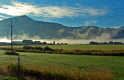 Farm Land. Early morning, travelling the Trans Canada Highway through the Fraser Valley which is noted for it's agriculture and farming. The farm buildings stock images
